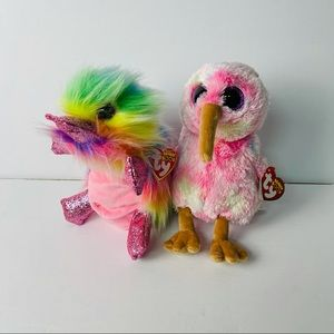 TY beanie boo bundle of 2 rainbow plush stuffies